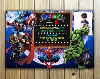 Avengers Invitation, Avengers Invite,  Superhero Invitation, Superhero Invite,  Superhero Avengers Invitation, Avengers  Birthday Invitation