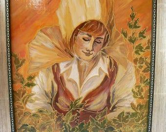 "painting ""Golden hugged"" canvas 27 x 22 - framed 31 x 37"