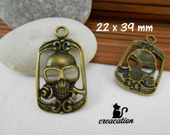 Skull and rose pendant, 22x39mm, bronze