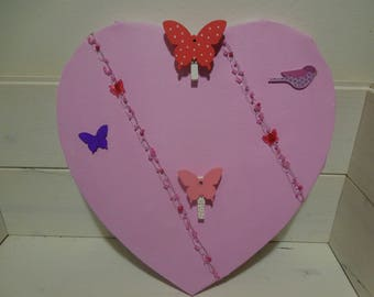 Pink picture frame holder heart shape