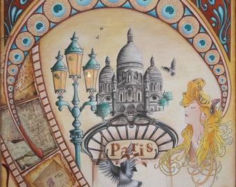 Paris painting in retro, Paris