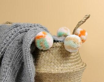 Handmade Pom Pom Seagrass Belly Basket - Storage / Decor / Plant Stand / Marble