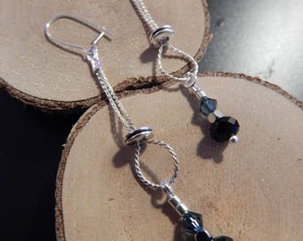 Black beads and Silver earrings