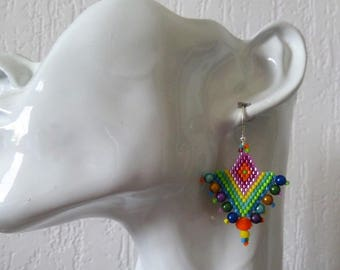 new my creation is handmade earrings ethnic new Rainbow