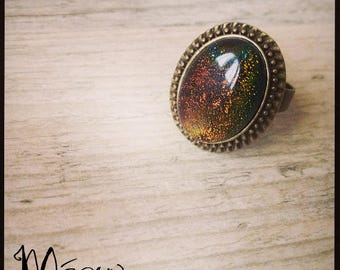 """Galaxy"" vintage brass ring and glass"