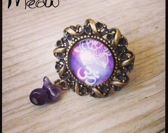"""Bronze """"Ohm"""" ring in purple tones"""