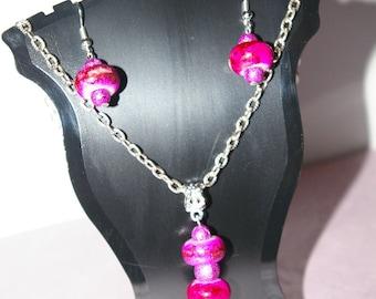 set 2 pieces beads european charms fuchsia