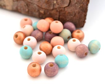Mix of 25 beads, copper, pink, peach, purple and blue wood 8 mm round