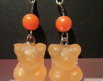 gummy bear earrings tone with Pearl orange
