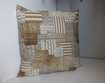 """Imitation """"tricot"""" beige and taupe patterned pillow cover."""