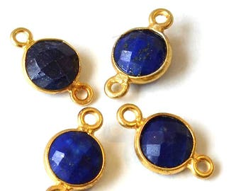 Between two faceted gemstone and Sterling Silver 925 - circular (7mm) - gold and blue - ENT2AGPSP16BLEF485