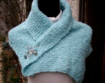 swall, turquoise, knit, original, made hand