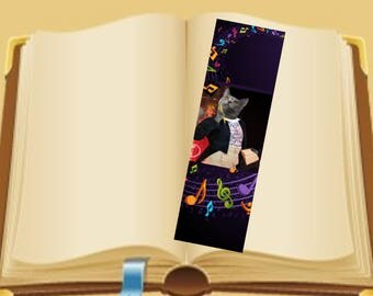 Set of two bookmarks with cat: my little composer