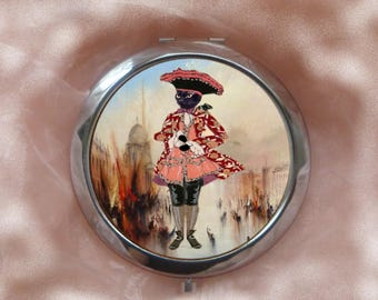 large Pocket mirror with cat: small Venetian marquis
