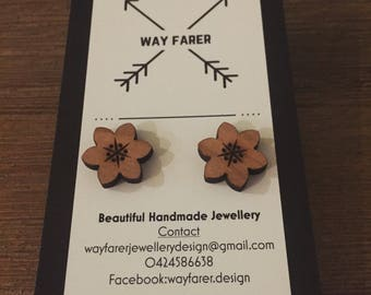 Wooden Cherry Blossom Studs