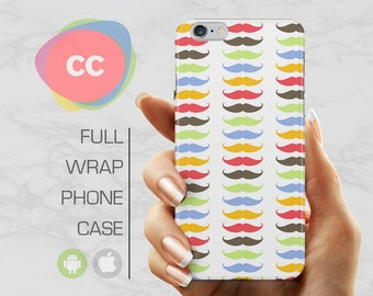 Colourful Moustache Phone Case - iPhone 7 Case - iPhone 8 Case - iPhone X, 8, 7, 6, 6S, 5S, 5, SE Case - Samsung S8, S7, S6 Case - PC-296