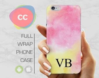 iPhone X Case - Custom Personalised Initials Pink Phone Case - iPhone 8 Case - iPhone 7 Case - iPhone 6, 5S - Samsung S6, S7, S8 - PC-313