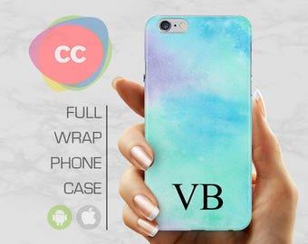 iPhone X Case - Custom Personalised Initials Blue Phone Case - iPhone 8 Case - iPhone 7 Case - iPhone 6, 5S - Samsung S6, S7, S8 - PC-314