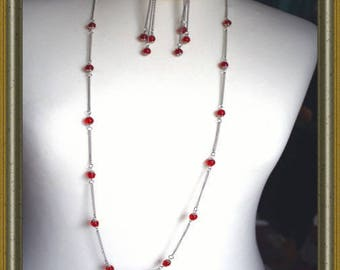 Red glass bead set