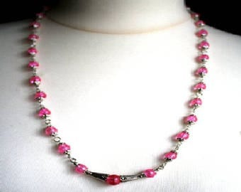 Pink Crackle Glass Bead Necklace