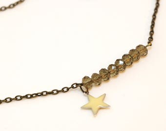 Star Light Yellow faceted beads necklace