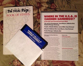 """Where in the Usa, Time, World Is Carmen Sandiego? PC / IBM 3.5"""" Floppy x 3 Games"""