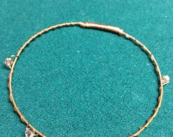 Hand-crafted Guitar String Bracelet with Swarovski Crystals