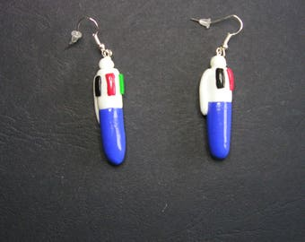 Earrings pencil 4 colors of polymer clay