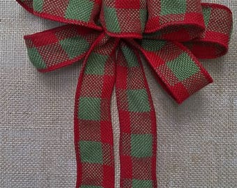 Red and Green Plaid Burlap Bow