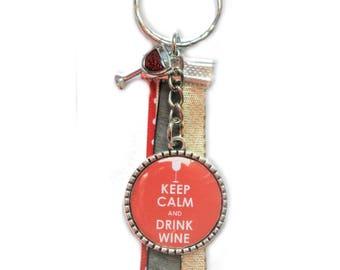 Keychain - Keep Calm and Drink Wine bag charm
