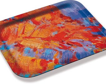adorned with a detail of a work of painter MEZ deMEZERAC melamine tray