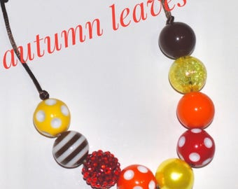 Autumn leaves chunky bead adjustable necklace