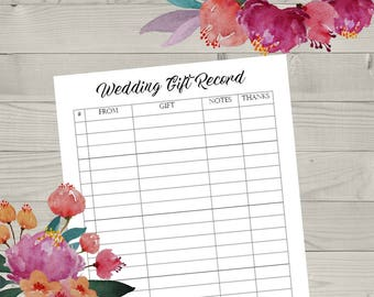 Printable Wedding Gift Record List, List of Gifts Received, Gift Registry, Bride and Groom, Record of Gifts, Printable Wedding Form