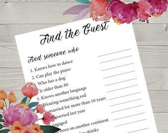 Find The Guest Printable Wedding Game, Wedding Reception Game, Fun Wedding Games