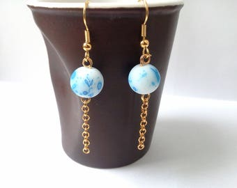 "Dangle earrings ""mottled"" - blue speckled white"