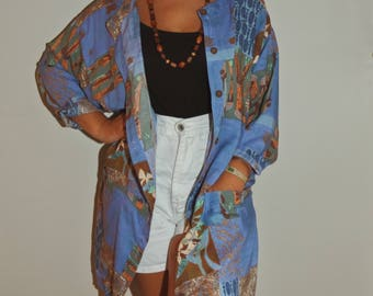 Womens African print Dress/Kimono. One size!