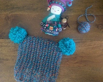 Hand knitted toddler beanie with pom poms and seed stitch detail | Chunky knit