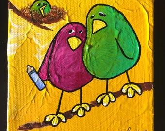 YOUR TURN — LimbBird original bird artwork — whimsical, colorful, playful, happy bird art - Birds  on a Limb