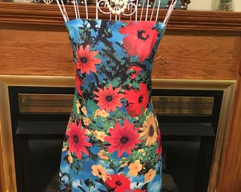 80's strapless tube dress floral printed size small