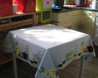 "Tablecloth rectangular 150 cm * 250 cm hand silk-screened ""Alice"""