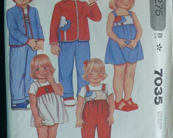 Children's Jacket, Jumper, Sundress, Overalls Pattern - Vintage McCalls 7035 - Size 5 and Size 6