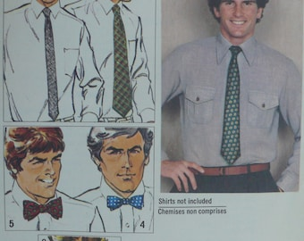 Men's Ties Pattern - one size, different styles - Vintage Simplicity Pattern 9253
