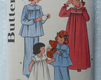 Girl's, Children's Nightgown, Pyjamas Pattern, Vintage 1950's Butterick 6199, Size 8