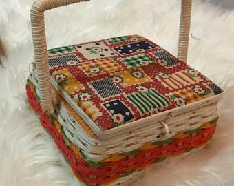 Vintage 1970's Sewing Basket