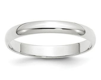 New 10K Solid White Gold 3mm Men's and Women's Wedding Band Ring Sizes 4-14. Solid 10k White Gold, Made in the U.S.A.