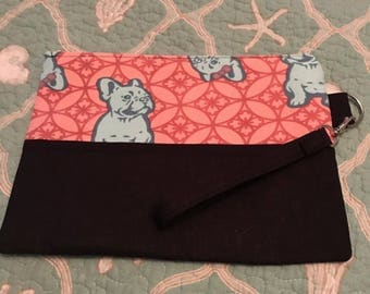 Lularoe Pink and blue French bulldog Wristlet