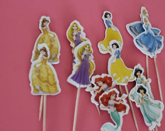 Princess cupcakes toppers, princess party decor,  set of 12
