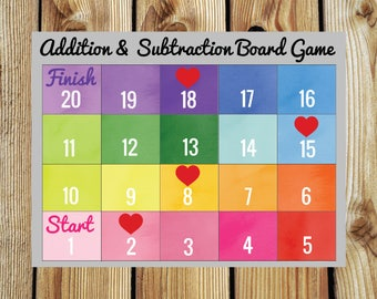 Printable Addition and Subtraction Board Game