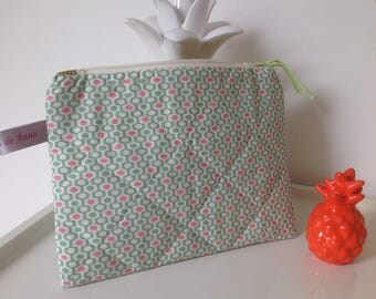 Pouch bag case geometric print quilted cotton