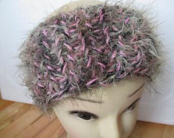 beige pink woman black bright headband knitting pattern